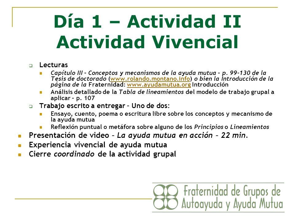 Día 1 – Actividad II Actividad Vivencial