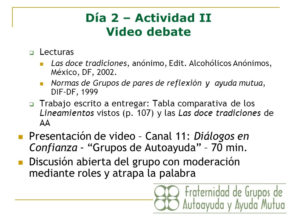 Día 2 – Actividad II Video debate
