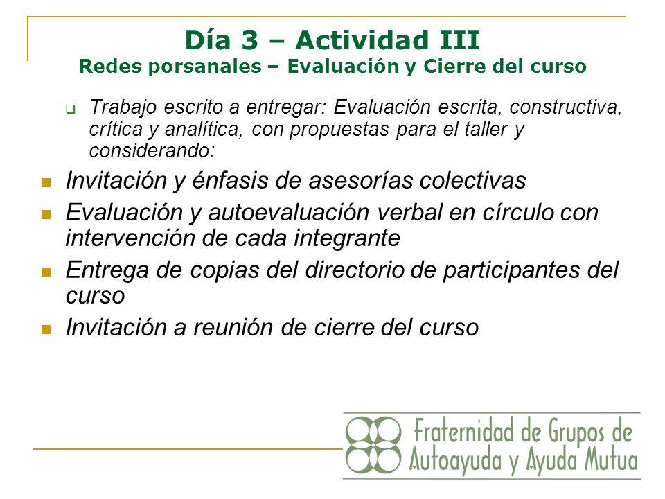 Día 3 – Actividad III Redes porsanales – Evaluación y Cierre del curso