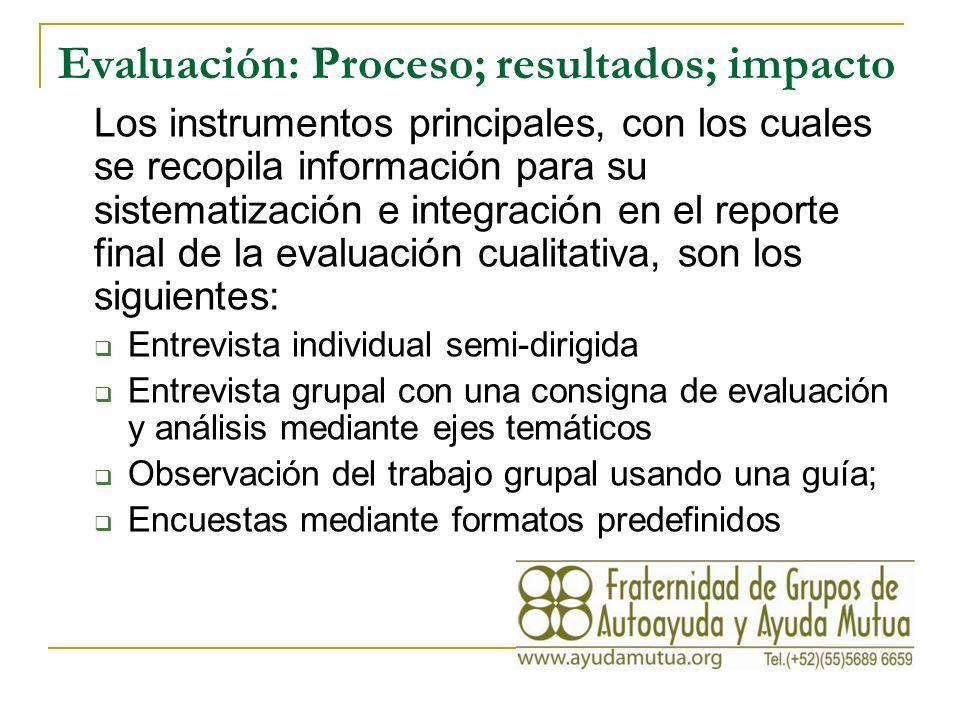 Evaluación: Proceso; resultados; impacto