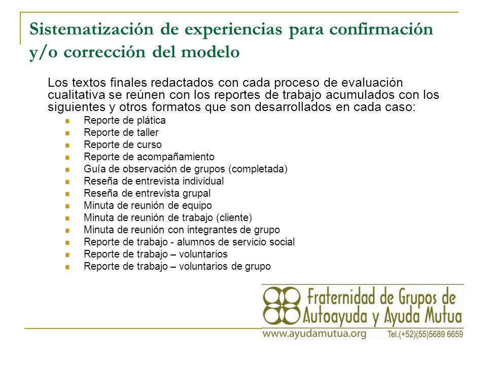 Sistematización de experiencias para confirmación y/o corrección del modelo