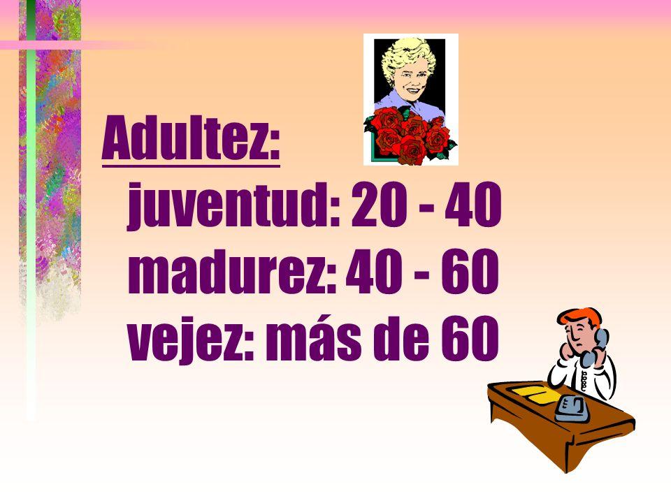 Adultez: juventud: 20 - 40 madurez: 40 - 60 vejez: más de 60