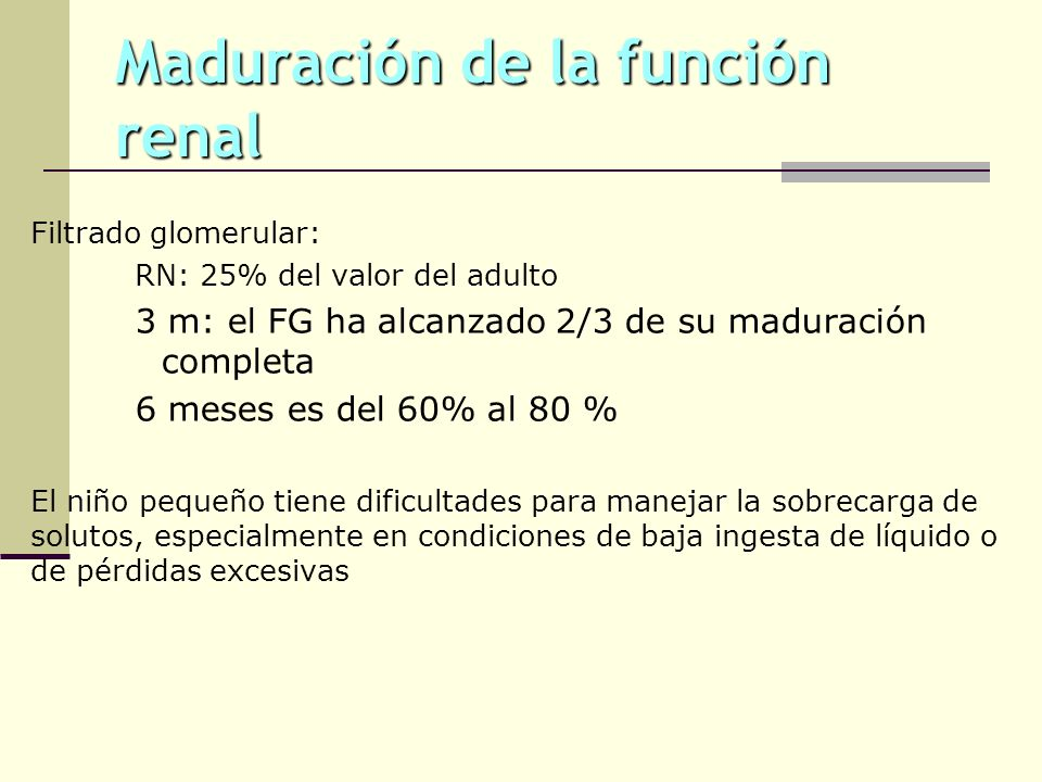 Maduración de la función renal