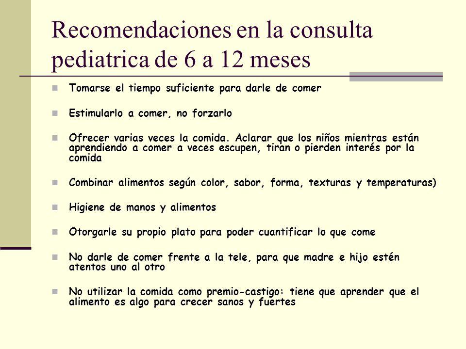 Recomendaciones en la consulta pediatrica de 6 a 12 meses