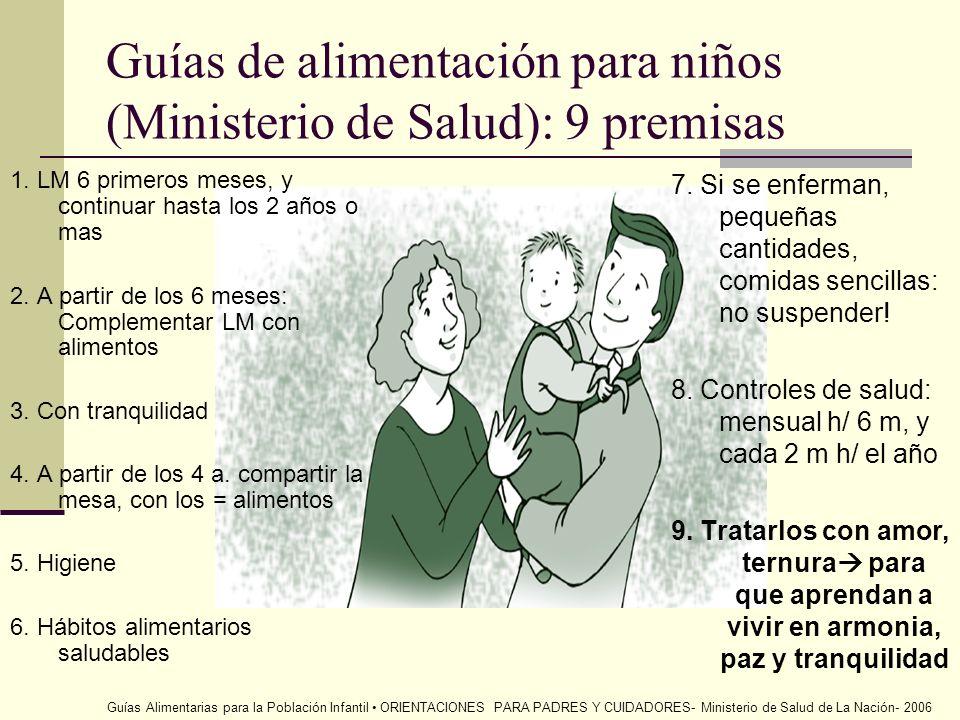 Guías de alimentación para niños (Ministerio de Salud): 9 premisas