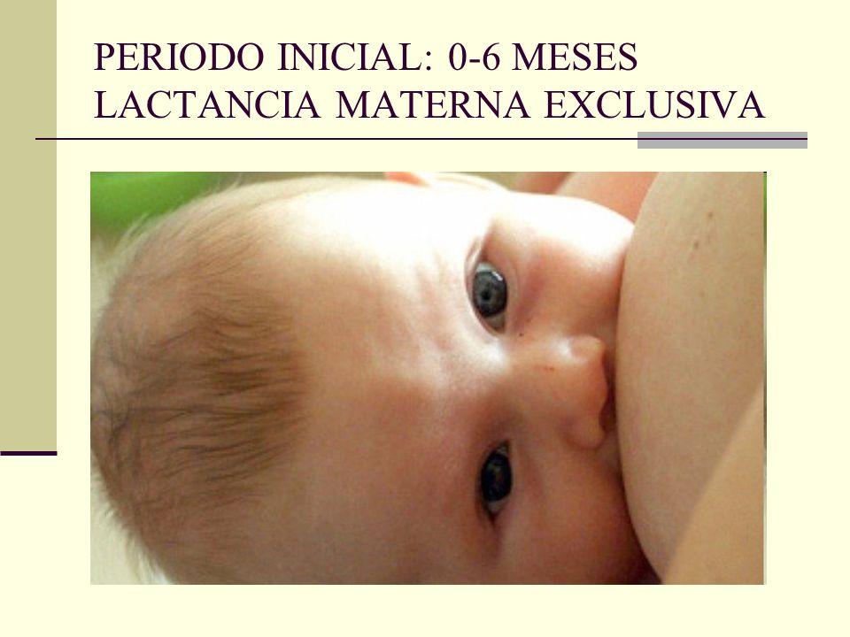 PERIODO INICIAL: 0-6 MESES LACTANCIA MATERNA EXCLUSIVA