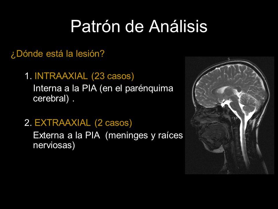 Patrón de Análisis ¿Dónde está la lesión 1. INTRAAXIAL (23 casos)