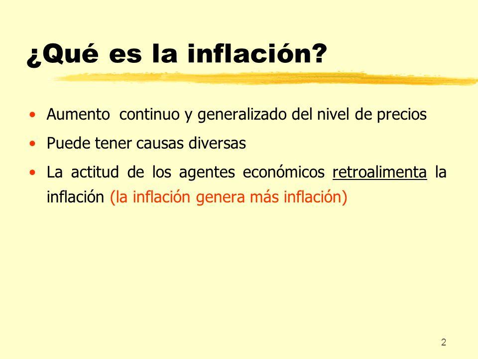 ¿Qué es la inflación Aumento continuo y generalizado del nivel de precios. Puede tener causas diversas.