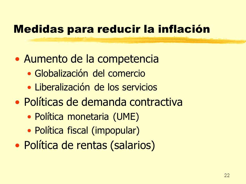Medidas para reducir la inflación