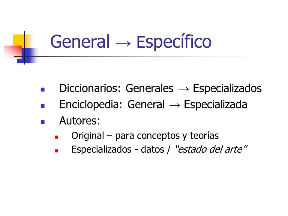 General → Específico Diccionarios: Generales → Especializados