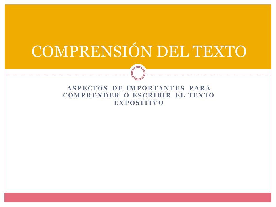 Aspectos de importantes para comprender o escribir el texto expositivo