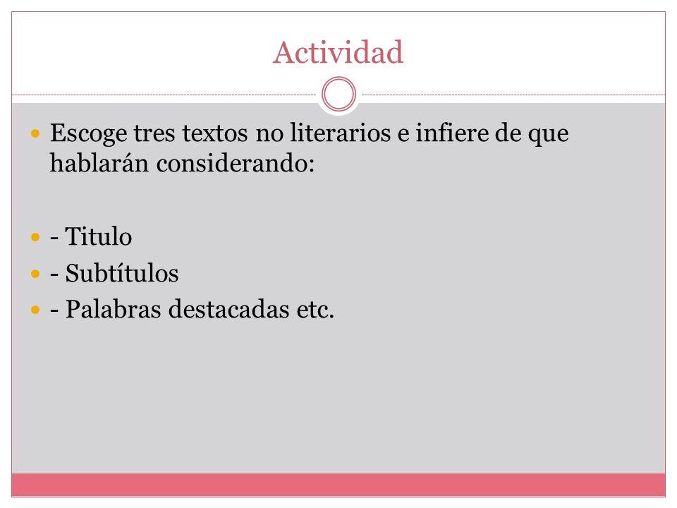 Actividad Escoge tres textos no literarios e infiere de que hablarán considerando: - Titulo. - Subtítulos.