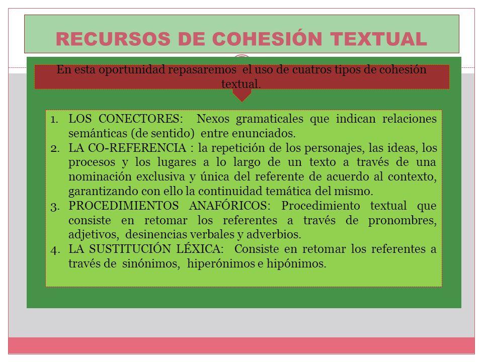 Recursos de cohesión textual