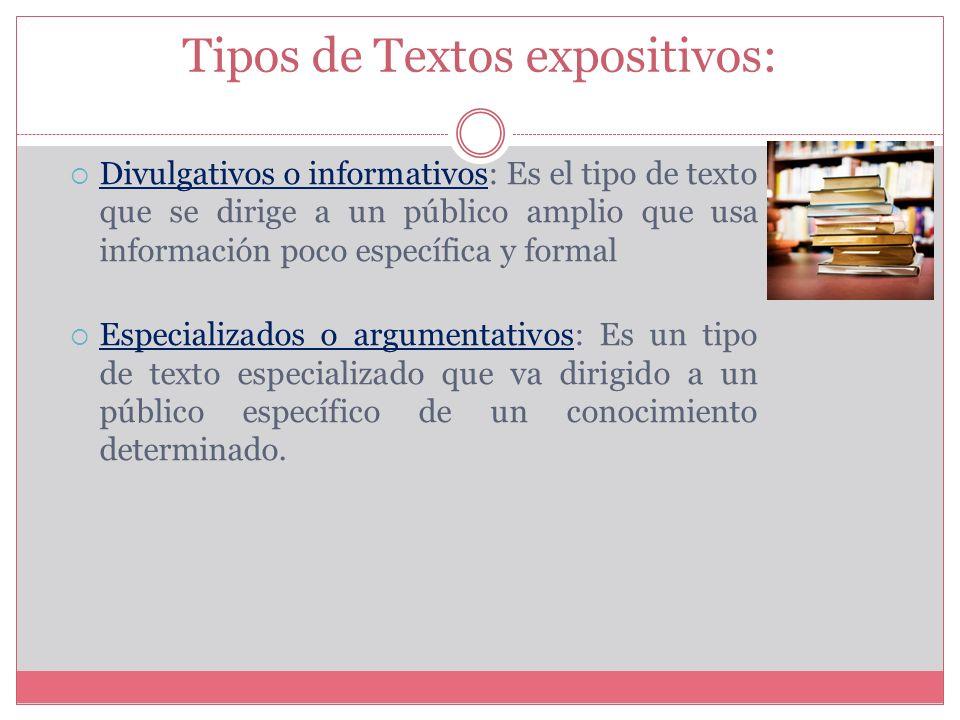 Tipos de Textos expositivos: