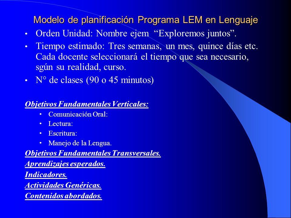 Modelo de planificación Programa LEM en Lenguaje