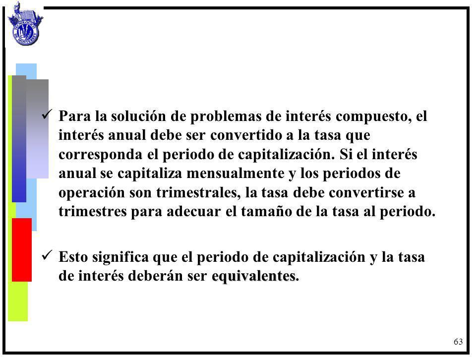 Para la solución de problemas de interés compuesto, el interés anual debe ser convertido a la tasa que corresponda el periodo de capitalización. Si el interés anual se capitaliza mensualmente y los periodos de operación son trimestrales, la tasa debe convertirse a trimestres para adecuar el tamaño de la tasa al periodo.