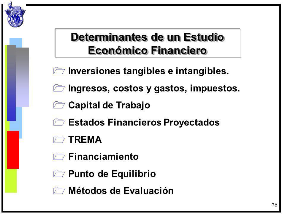 Determinantes de un Estudio Económico Financiero