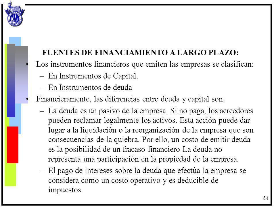 FUENTES DE FINANCIAMIENTO A LARGO PLAZO: