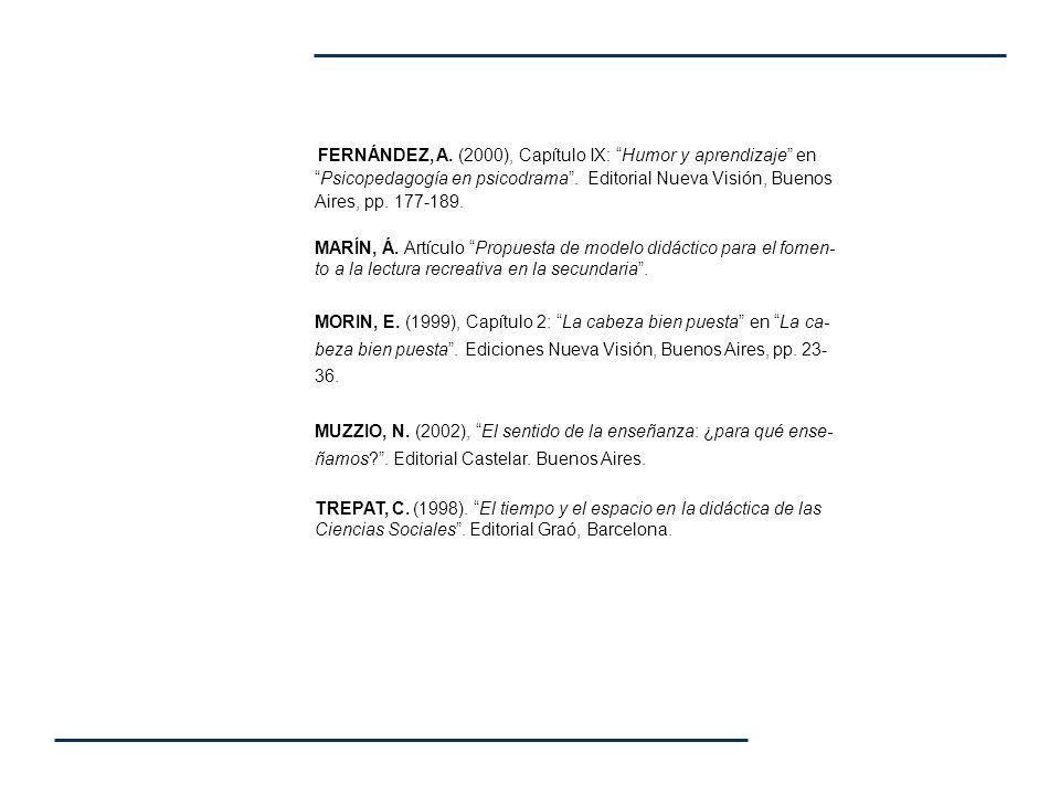 FERNÁNDEZ, A. (2000), Capítulo IX: Humor y aprendizaje en Psicopedagogía en psicodrama . Editorial Nueva Visión, Buenos Aires, pp. 177-189.