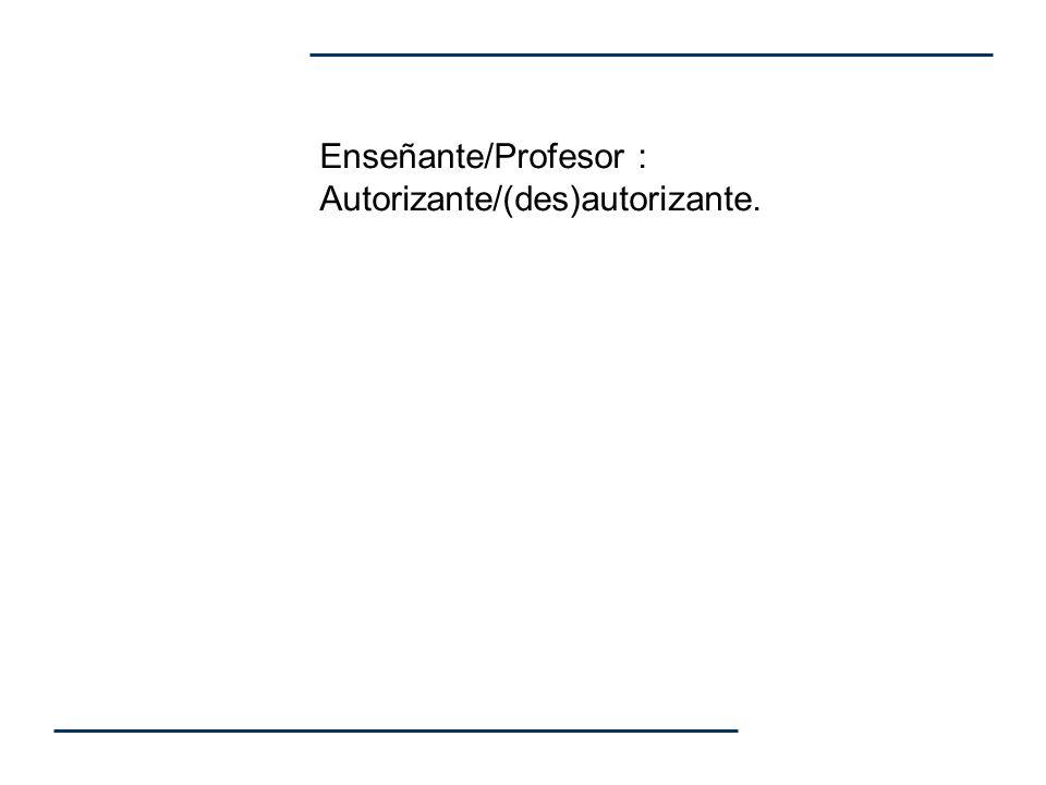 Enseñante/Profesor : Autorizante/(des)autorizante.