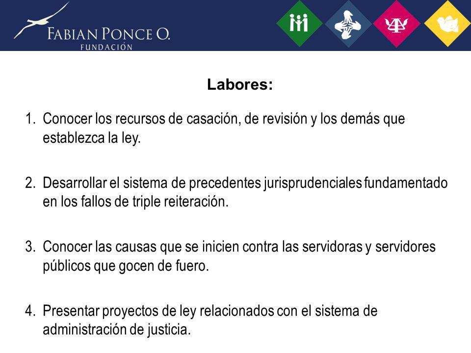 Labores: Conocer los recursos de casación, de revisión y los demás que establezca la ley.