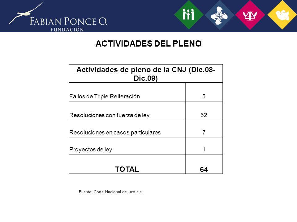 Actividades de pleno de la CNJ (Dic.08-Dic.09)