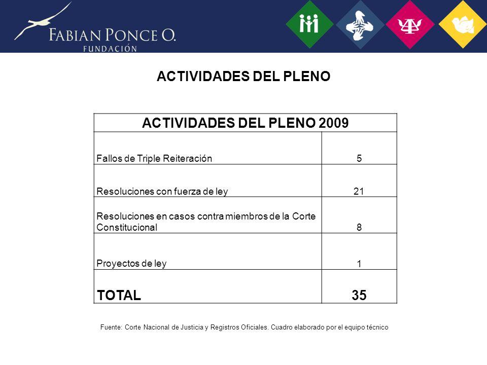 ACTIVIDADES DEL PLENO ACTIVIDADES DEL PLENO 2009 TOTAL 35