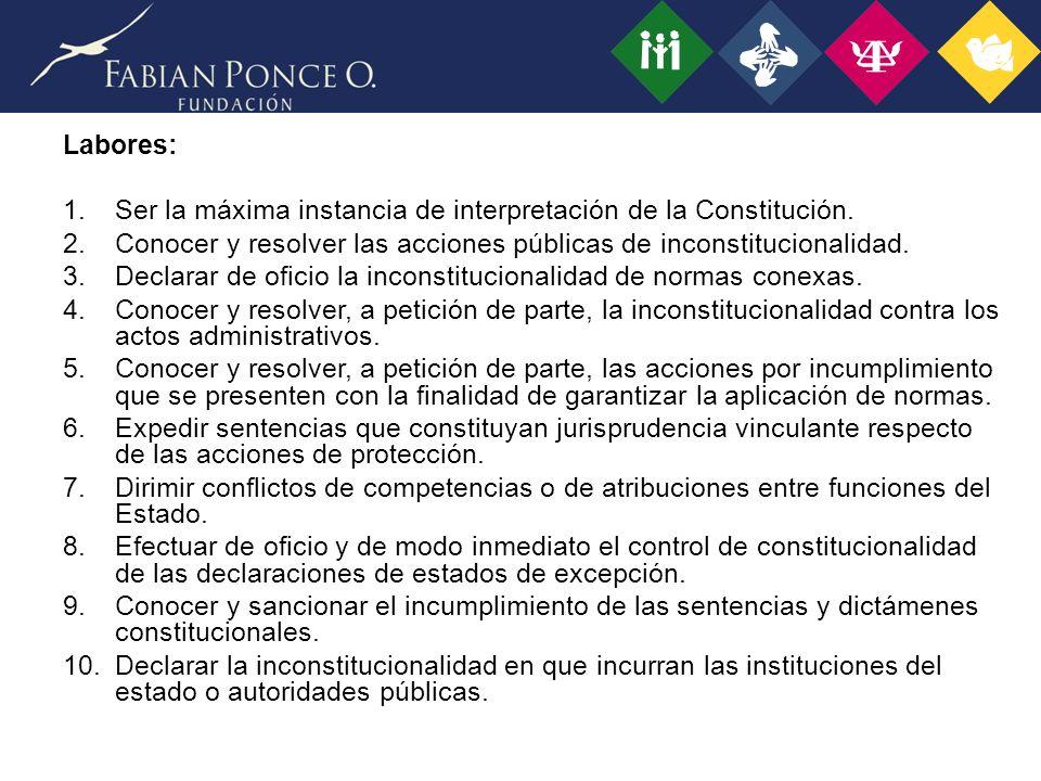 Labores: Ser la máxima instancia de interpretación de la Constitución. Conocer y resolver las acciones públicas de inconstitucionalidad.