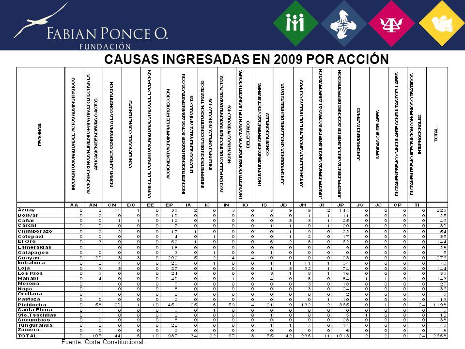 CAUSAS INGRESADAS EN 2009 POR ACCIÓN