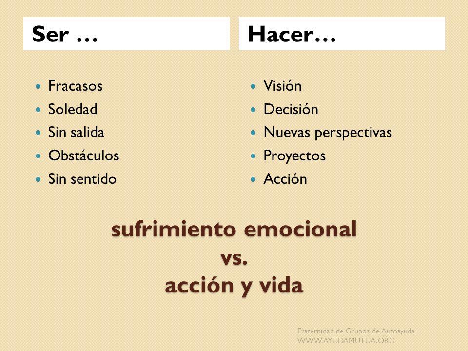 sufrimiento emocional vs. acción y vida