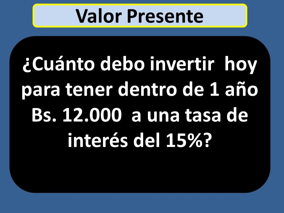 Valor Presente ¿Cuánto debo invertir hoy para tener dentro de 1 año Bs.