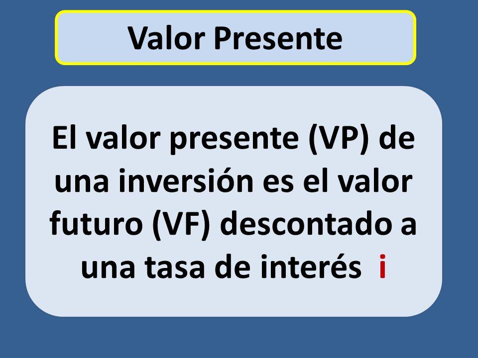 Valor Presente El valor presente (VP) de una inversión es el valor futuro (VF) descontado a una tasa de interés i.
