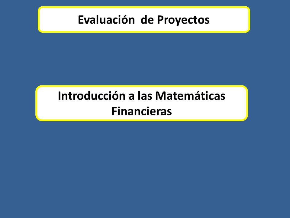 Evaluación de Proyectos Introducción a las Matemáticas Financieras