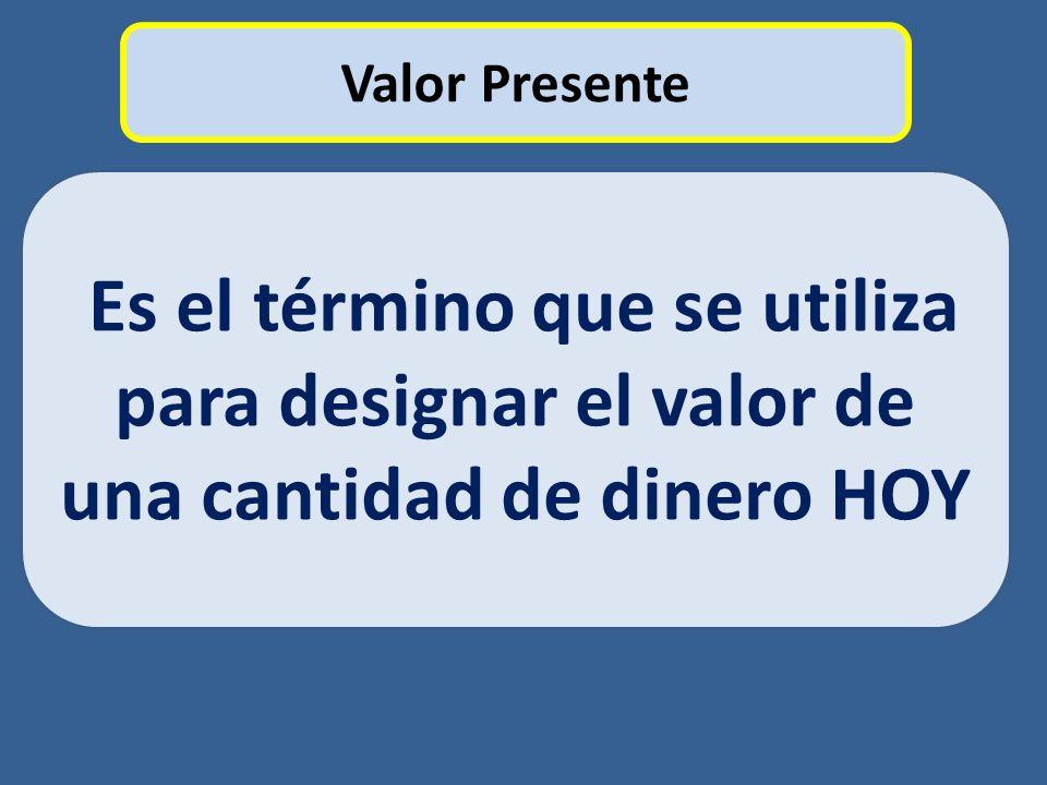 Valor Presente Es el término que se utiliza para designar el valor de una cantidad de dinero HOY