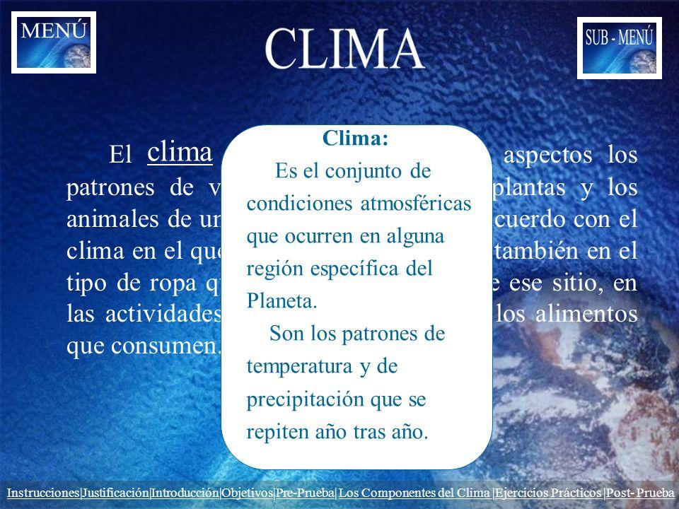 CLIMA Clima: Es el conjunto de. condiciones atmosféricas. que ocurren en alguna. región específica del.