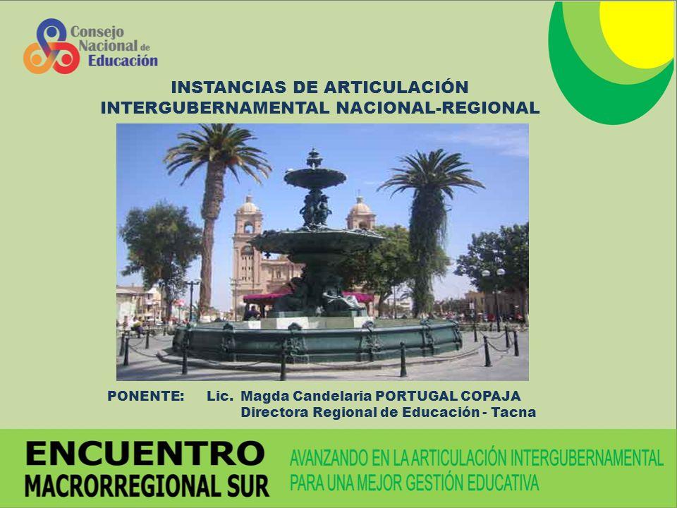 INSTANCIAS DE ARTICULACIÓN INTERGUBERNAMENTAL NACIONAL-REGIONAL
