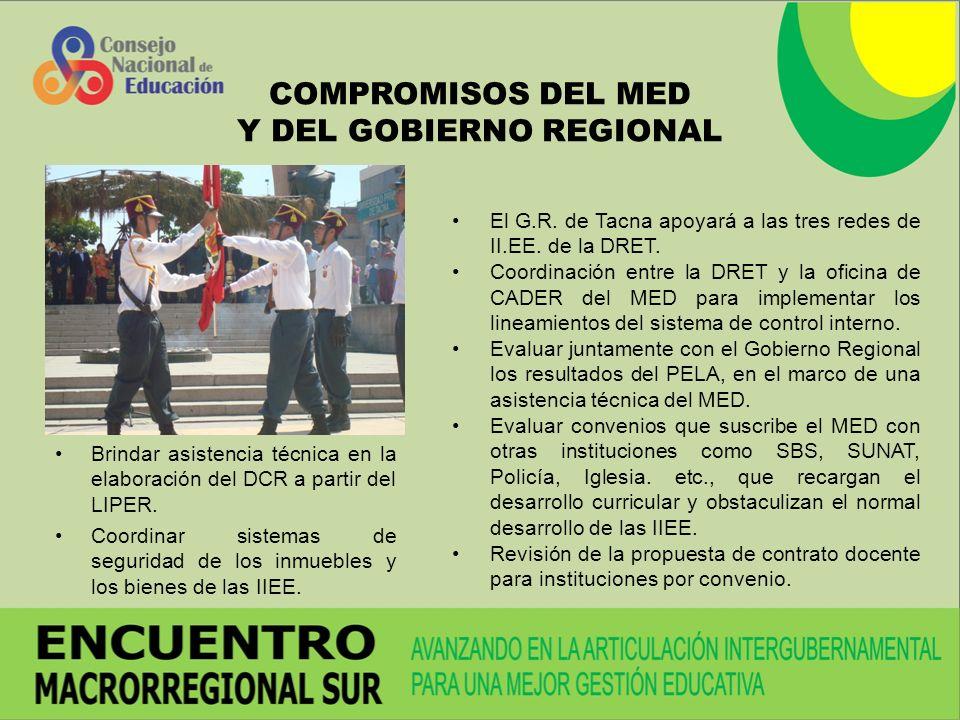 COMPROMISOS DEL MED Y DEL GOBIERNO REGIONAL