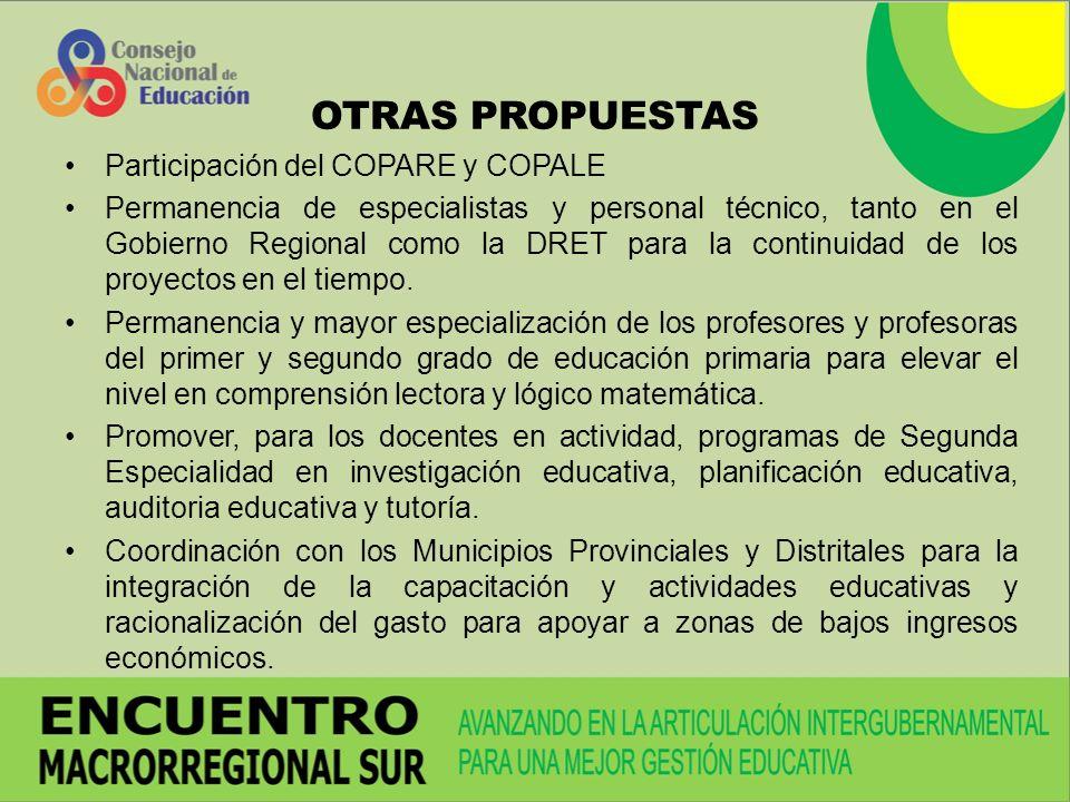 OTRAS PROPUESTAS Participación del COPARE y COPALE