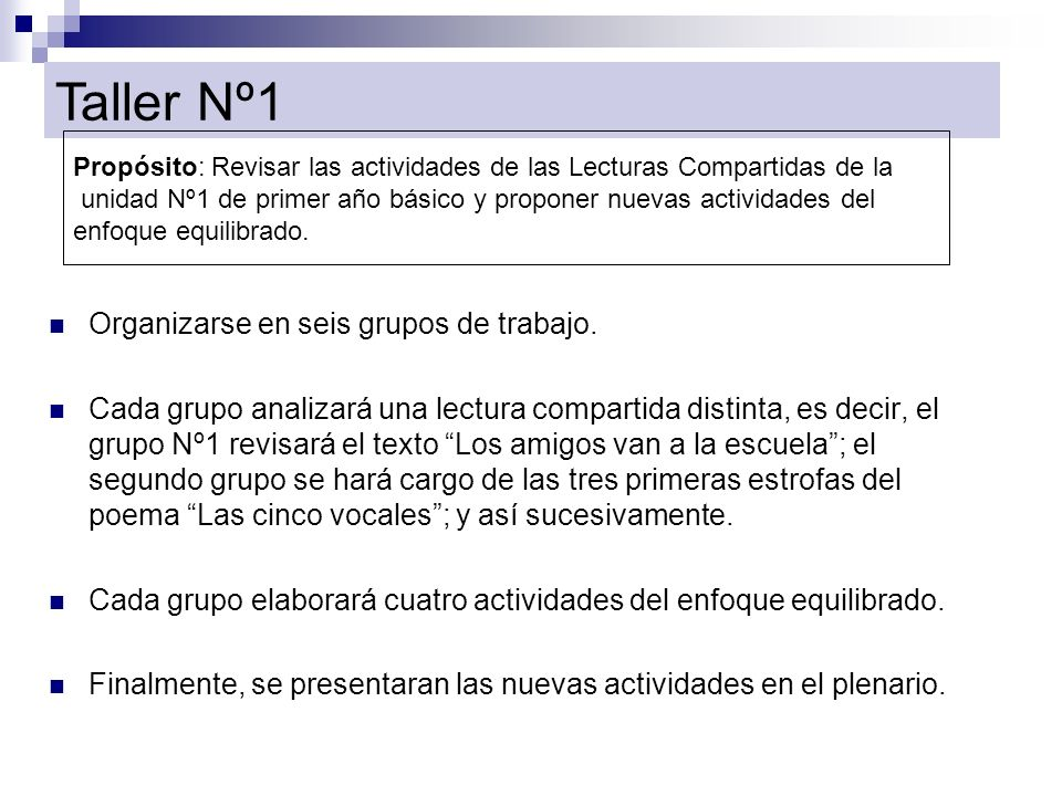 Taller Nº1 Organizarse en seis grupos de trabajo.