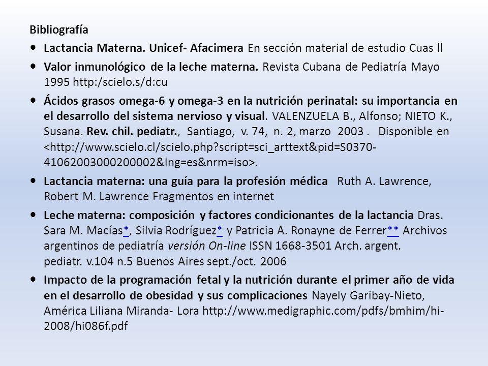 Bibliografía Lactancia Materna. Unicef- Afacimera En sección material de estudio Cuas ll.