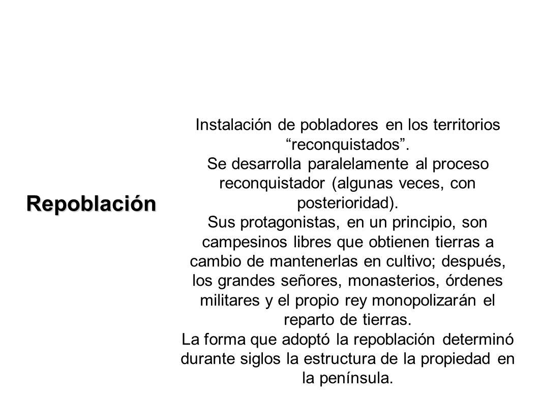 Instalación de pobladores en los territorios reconquistados .