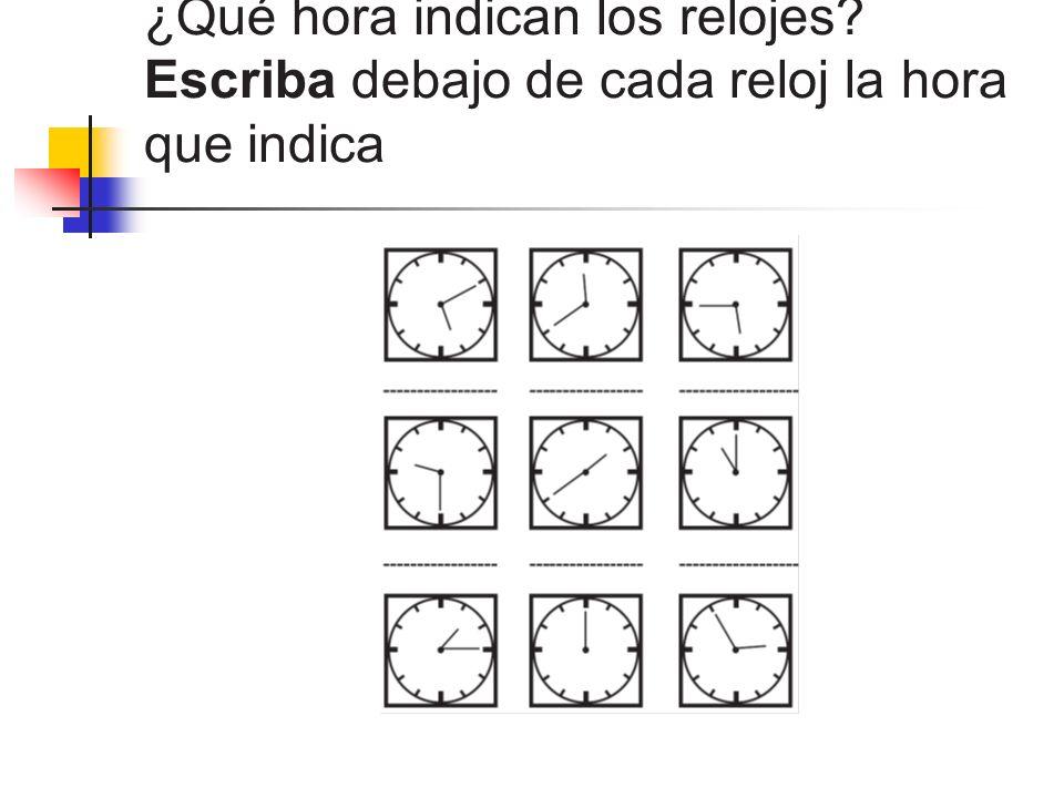 ¿Qué hora indican los relojes