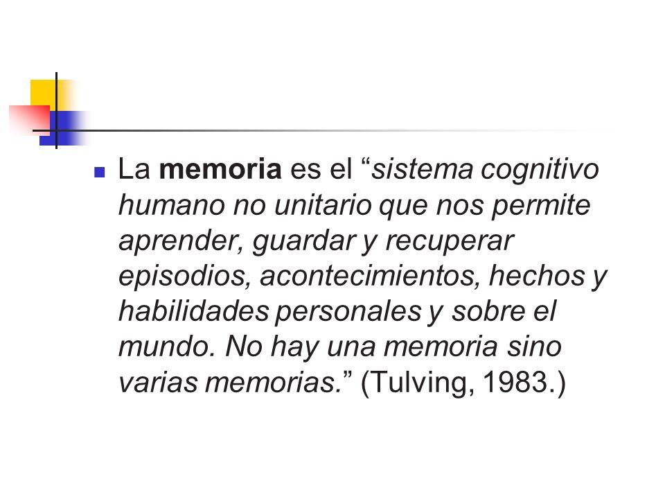 La memoria es el sistema cognitivo humano no unitario que nos permite aprender, guardar y recuperar episodios, acontecimientos, hechos y habilidades personales y sobre el mundo.