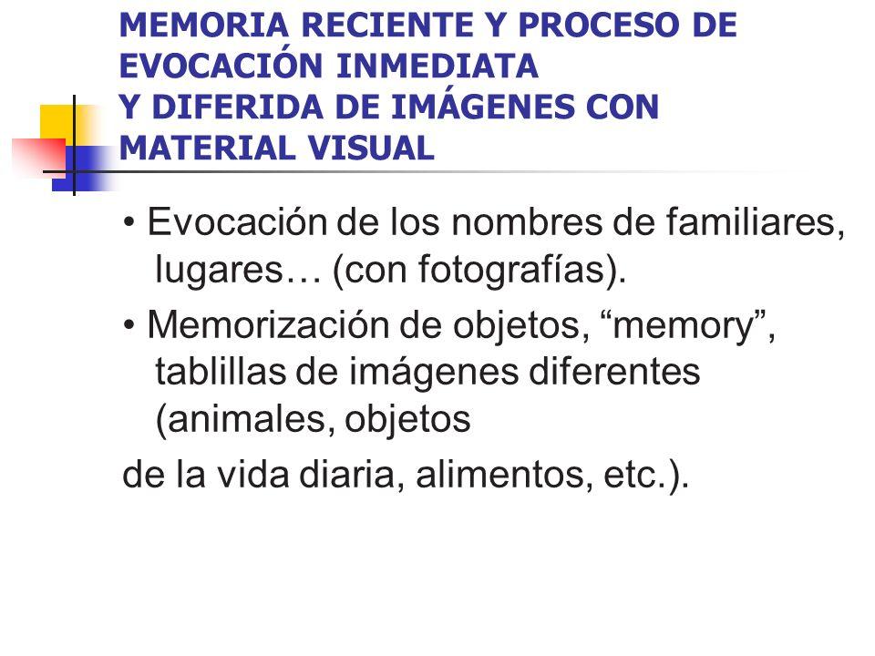 • Evocación de los nombres de familiares, lugares… (con fotografías).