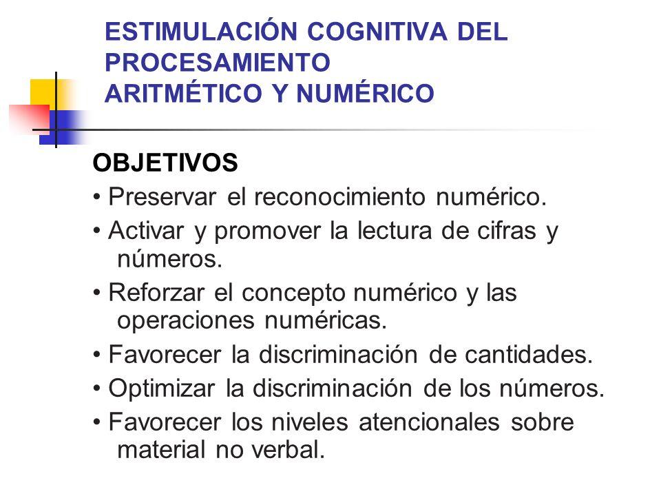ESTIMULACIÓN COGNITIVA DEL PROCESAMIENTO ARITMÉTICO Y NUMÉRICO