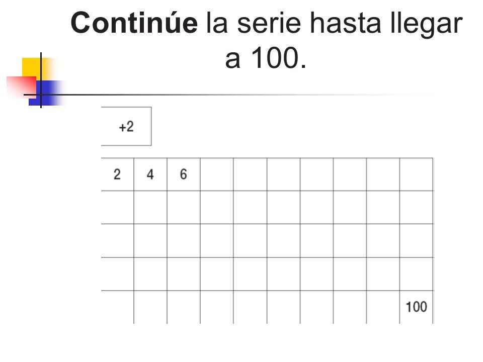 Continúe la serie hasta llegar a 100.
