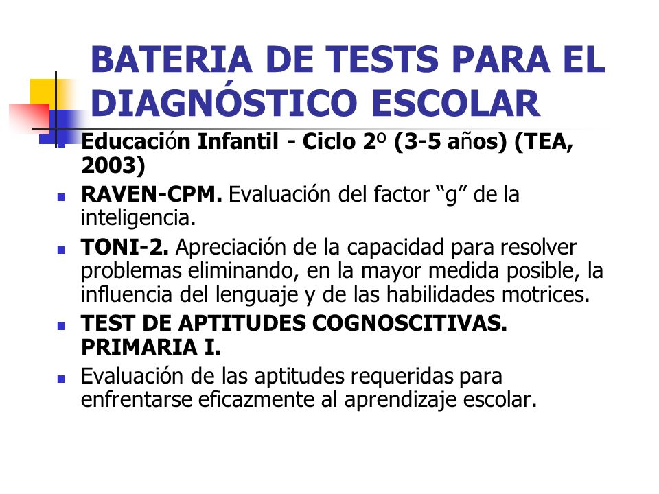BATERIA DE TESTS PARA EL DIAGNÓSTICO ESCOLAR