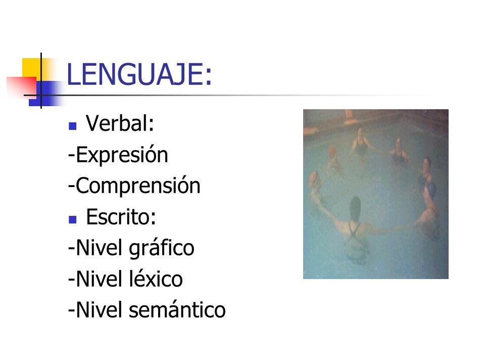 LENGUAJE: Verbal: -Expresión -Comprensión Escrito: -Nivel gráfico