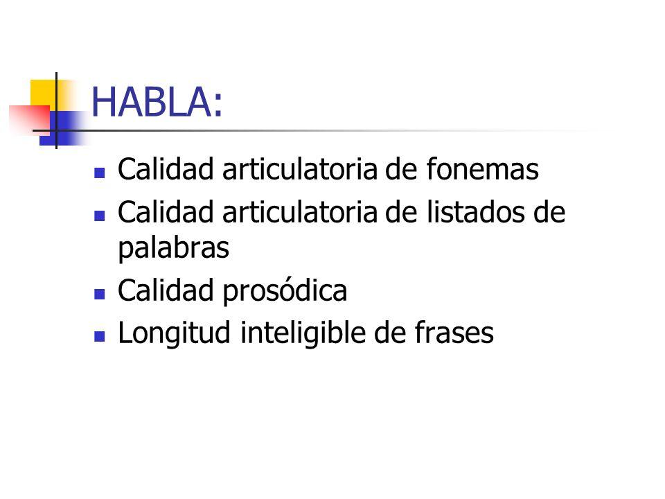 HABLA: Calidad articulatoria de fonemas