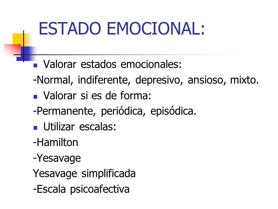 ESTADO EMOCIONAL: Valorar estados emocionales: